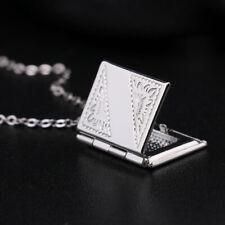 Women Men's Silver Book Box Po Locket Pendant Necklace,Chain Z6I3