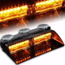 16 LED Amber 18W Windshield Suction Construction Flash Strobe Light Dash Yellow