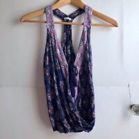 HOLLISTER Purple Pink White Geometric Floral V-Neck Sleeveless Wrap Tank Small