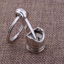 1x Engine Auto Car Part Silver Metal Piston Alloy Keychain Keyring Keyfob Top
