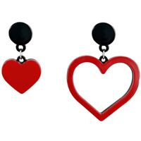 Acrylic Fashion Heart Shaped Lady Sweet Asymmetric Red Earrings H4O7