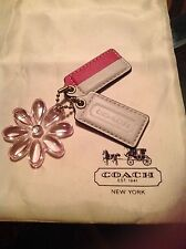 COACH Leather White & Pink Striped & Pink Daisy Hangtag Keychain Combo