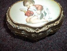 vintage MELE trinket box goldtone metal boy with lamb on silky fabric Japan