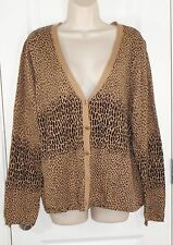 Liz Claiborne Animal Print Cardigan Top Shirt Sweater Sz XL 16 Cotton Womens