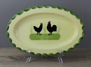 Zeller Keramik Hahn und Henne Servierplatte Platte oval ca. 31,5 x 20,5 cm CHIP