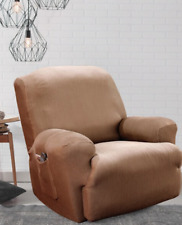 Sure Fit Stretch Madison Stripe Recliner Slipcover in Brown / Chocolate