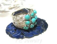 Chinese Handmade Sterling Silver Filigree Natural Turquoise Adjustable Band Ring