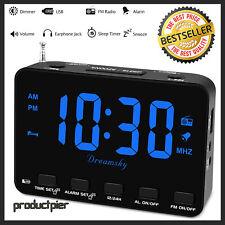 Digital Bedside Alarm Clock Fm Radio Usb Charger Earphone Jack Snooze 12/24 Blue