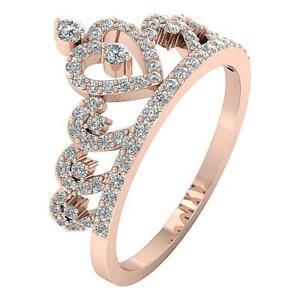 Real Diamond SI1 G 0.75 Ct Crown Anniversary Wedding Ring 14K Rose Gold 11.80MM