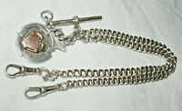"""ANTIQUE SILVER GEORGE EDWARD GEE DOUBLE ALBERT GRADUATED CHAIN T BAR FOB 18"""""""