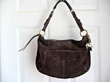 COACH Purse Shoulder Bag Brown Suede Leather Brass Hanging Carriage Tag 12690