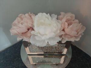 Rose gold Mirrored Crushed diamonds & white blush pink  Peonies   centrepiece
