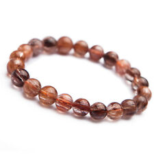 8MM Natural Copper Rutilated Quartz Crystal Wealthy Round Beads Bracelet AAA