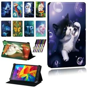 Animal Leather Smart Stand Case cover Fit Samsung Galaxy Tab 2 /3 /4 Tablet +Pen
