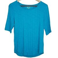 Apt 9. Essential Elbow-Sleeve Tee NWT S Textured Supersoft Short Sleeve Blue