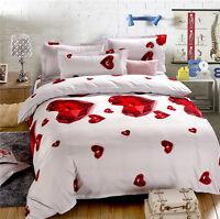 3D Love Duvet Cover Pillowcase Quilt Cover Home Bed Set Single Queen King Heart