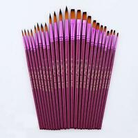 12pcs Flat Tip Painting Brushes Set Artist Nylon Hair Watercolor Oil Drawing  A