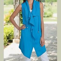 Soft Surroundings Womens Blue Sleeveless Drapey Vest Size L Zip Front