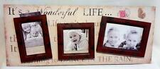 GORGEROUS *WOODEN *RUSTIC SHABBY  DESIGN* PHOTO FRAME * HOLDS 3 PHOTOS*NEW*