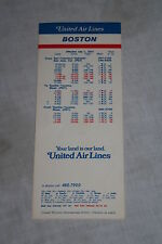 Vintage United Airlines Boston Timetable July 1, 1972