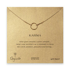"""Dogeared Classic Original 18"""" Gold Dipped Karma Boxed Necklace"""