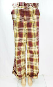 Vintage Pants Hiphuggers  Bell Buttoms Plaid  Retro   Cotton  Size S-m