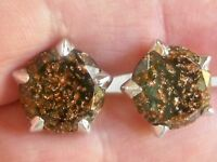 VINTAGE HICKOK USA GOLDSTONE AVENTURINE ART GLASS CUFFLINK & TIE CLIP 3 PC SET