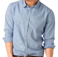 NUOVO maniche lunghe Uomo Camicia chiaro blu struttura ESEMPLARE UNICO