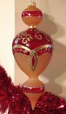Christmas Ornament Blown Glass Amber Red Finial #4