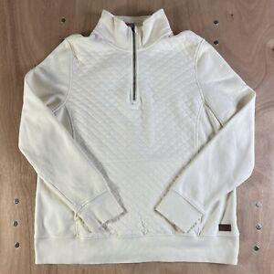 LL Bean Women's XL Quilted Quarter Zip Pullover Sweatshirt Ivory Cream