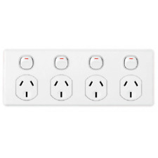 Clipsal POWER OUTLET WITH SWITCH 4-Gang 10A 250V White *Australian Brand