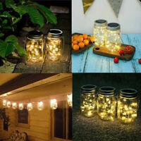 Solar Mason Jar Lights Lids Insert Wedding Party Xmas Outdoor Decor 2m/20 LED