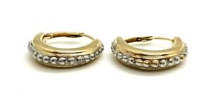 Vintage 14k Yellow Gold Clip Pierced 1.61gr Studded Hoop Earrings Pair 1219-2