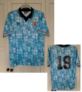 England 1990 Blue 3rd football shirt ITALIA 90 GASGOIGNE 19# LARGE WORLD CUP 90