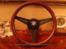 "BMW 02 E10 2000 2002 Wood Steering Wheel Nardi 13.75"" deep dish BMW Horn Button"