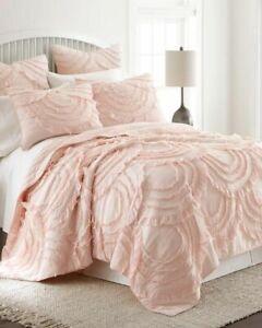 "Oscar & Grace Lyla Ruffled Euro Sham Shabby Chic Farmhouse Blush Pink New 26x26"""