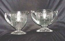 Antique Clear Glass CREAMER & SUGAR BOWL with Daisy Flower Embossed Design