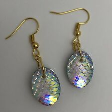 Mermaid Egg / Dragon Egg Scales Silver Plt Charm Earrings Clear Pink AB I030