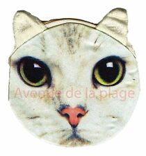 Porte-monnaie tête de Chat blanc, accessoire mode pas cher, portefeuille Neuf