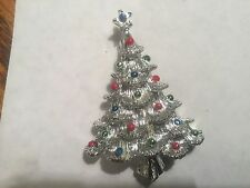 Silver Toned Christmas Tree Pin Brooch- signed- vintage