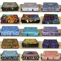 Indian Mandala Square Cotton Floor Cushion Covers Home Decor Pillow Case Throw