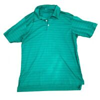 Adidas Climacool Mens Polo Golf Shirt Athletic Short Sleeve Green Striped