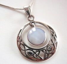 Mother of Pearl Celtic Weave 925 Sterling Silver Pendant Corona Sun Jewelry