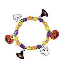 1 Halloween Enamal Charm Bead Bracelet Kit Pumpkin Kids
