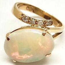 Fancy Handmade 18K Yellow Gold 0.04ct Diamond & Solid Opal Ladies Ring -18ct 750