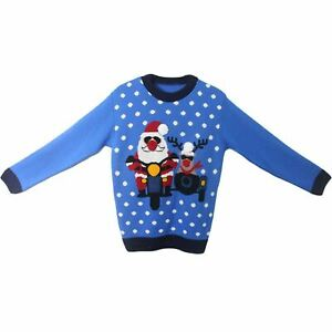 New Mens Funny Novalty Xmas Santa and Rudolph on Bike knitted Christmas Jumper