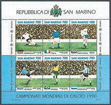 1990 SAN MARINO FOGLIETTO MONDIALI DI CALCIO ITALIA MNH ** - ED
