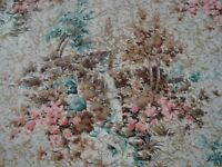 """VTG One Yard BARKCLOTH Toile Gold Embossed DRAPERY FABRIC Teal 48"""" x 36"""" BTY"""