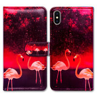 Bcov Red Flamingo Card Slot Leather Wallet Case Cover For iPhone iPod Touch