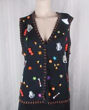 Black Sweater vest Halloween women Medium beads embroidery 3D candy ghost